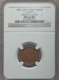Civil War Patriotics, 1863 Liberty / Army & Navy MS63 Brown NGC, Fuld-14/297a, R.5;1863 Indian / Crossed Cannons MS63 Red and Brown NGC, Fuld-79/35...(Total: 4 tokens)