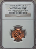 Errors, 1963 5C Jefferson Nickel -- Struck On A 1C Planchet (3.12g) -- MS63 Red and Brown NGC. Ex: New England Collection....