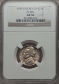 1939 5C Doubled Monticello, FS-801, AU58 Full Steps NGC. NGC Census: (0/0). PCGS Population: (0/0). ...(PCGS# 38482)