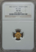 California Fractional Gold , 1853 50C Liberty Octagonal 50 Cents, BG-304, Low R.5, AU58 NGC. NGCCensus: (6/11). PCGS Population: (8/34). ...