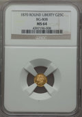 California Fractional Gold : , 1870 25C Liberty Round 25 Cents, BG-808, R.3, MS64 NGC. NGC Census:(16/26). PCGS Population: (68/69). ...
