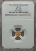California Fractional Gold , 1852 25C Indian Round 25 Cents, BG-891, Low R.5, MS62 NGC. NGCCensus: (2/8). PCGS Population: (2/31). ...