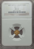 California Fractional Gold , 1871 25C Liberty Octagonal 25 Cents, BG-717, R.3, MS62 NGC. NGCCensus: (14/48). PCGS Population: (30/186). ...