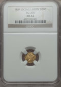 California Fractional Gold , 1854 50C Liberty Octagonal 50 Cents, BG-305, Low R.4, MS62 NGC. NGCCensus: (15/13). PCGS Population: (28/49). ...