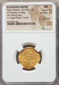 Ancients:Byzantine, Ancients: Maurice Tiberius (AD 582-602). AV solidus (4.44 gm)....
