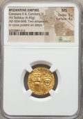 Ancients:Byzantine, Ancients: Constans II Pogonatus (AD 641-668), with Constantine IV.AV solidus (20mm, 4.45 gm, 6h)....