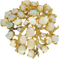 Estate Jewelry:Brooches - Pins, Opal, Diamond, Gold Brooch. . ...