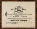 Football Collectibles:Others, 1915 Johnny Blood McNally Middle School Diploma. ...