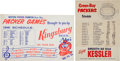 Football Collectibles:Others, 1961 Green Bay Packers (Championship Season) Beer and Liquor Broadsides Lot of 2....