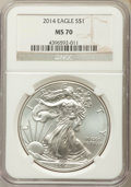 Modern Bullion Coins, 2014 $1 Silver Eagle MS70 NGC. NGC Census: (18472). PCGS Population: (2966). ...