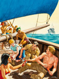 Paintings, Mort Künstler (American, b. 1931). The Great Trans-Pacific Escape, For Men Only magazine cover, November 1960. Gouache a...