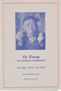 Baseball Collectibles:Others, 1947 Cy Young Signed Eightieth Birthday Celebration Program....