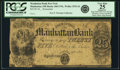 Obsoletes By State:Ohio, Manhattan, OH - Manhattan Bank $25 Post Note 18__ OH-260 UNL, Wolka1532-16, Lee MAN-2-13. Remainder. PCGS Very Fine 25 Appare...