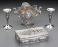 Silver Holloware, Continental:Holloware, A German Silver Vase and Box with a Pair of Kerr & Co SilverBud Vases, late 19th/early 20th century. Marks: (various marks)...(Total: 4 Items)