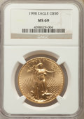 Modern Bullion Coins: , 1998 $50 One-Ounce Gold Eagle MS69 NGC. NGC Census: (1435/162). PCGS Population: (1857/79). CDN: $1,148 Whsle. Bid for prob...