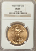 Modern Bullion Coins: , 1998 $50 One-Ounce Gold Eagle MS69 NGC. NGC Census: (1435/162). PCGS Population: (1859/79). CDN: $1,148 Whsle. Bid for prob...