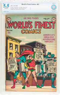 World's Finest Comics #63 (DC, 1953) CBCS FN- 5.5 Off-white pages