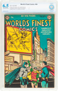 Golden Age (1938-1955):Superhero, World's Finest Comics #64 (DC, 1953) CBCS FN+ 6.5 Off-white to white pages....