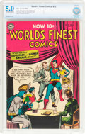 Golden Age (1938-1955):Superhero, World's Finest Comics #73 (DC, 1954) CBCS VG/FN 5.0 Off-white to white pages....