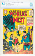 Golden Age (1938-1955):Superhero, World's Finest Comics #77 (DC, 1955) CBCS VF 8.0 Off-white to white pages....