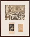 Autographs:Inventors, Thomas Edison Signed Photograph Framed with a Second EdisonSignature on a Sheet and an Oversized Period Photograph. ...