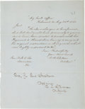 Autographs:Military Figures, Confederate General Carter L. Stevenson Autograph Endorsement Signed...