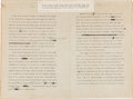 Autographs:U.S. Presidents, Woodrow Wilson Draft of Speech, Four Minute Message Read to the American People on July 4, 1918. ... (Total: 2 Items)