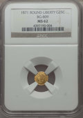 California Fractional Gold , 1871 25C Liberty Round 25 Cents, BG-809, Low R.4, MS62 NGC. NGCCensus: (7/28). PCGS Population: (16/78). ...