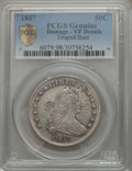 Early Half Dollars: , 1807 50C Draped Bust -- Damage -- PCGS Genuine Secure. VF Details.NGC Census: (45/583 and 0/6+). PCGS Population: (141/945...