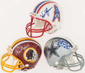 Football Collectibles:Helmets, Grimm, Moon and Wright Signed Mini Helmets (3)....