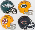 Football Collectibles:Helmets, Taylor, Atkins, Pihos and Hornung Signed Mini Helmets (4)....