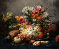 Fine Art - Painting, European:Antique  (Pre 1900), Georges Jeannin (French, 1841-1925). Still life with flowers andapples. Oil on canvas. 21-1/4 x 25-1/2 inches (54.0 x 6...