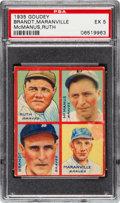 Baseball Cards:Singles (1930-1939), 1935 Goudey 4-In-1 Ruth/Maranville/Brandt/McManus #3A PSA EX 5....