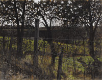 JAMES R. BLAKE (American b.1932) A Fence Line, 1963 Watercolor on paper 16 x 20 inches (40.6 x 50