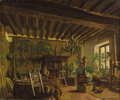 Paintings, MARY (LOUISE FAIRCHILD) MACMONNIES LOW (American 1866-1946). Frederick MacMonnies in his studio, circa 1888-1909. Oil o...