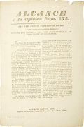 Books:Periodicals, Broadside Announcing Santa Anna's Arrival at Vera Cruz and his Loyalty to Mexico....