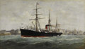 Paintings, ALEXANDRE DUBOURG (French 1821-1891). Le Ferdinand de Lesseps Leaving Le Havre Harbor. Oil on canvas. 23-1/4 x 39-3/8 in...