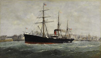 ALEXANDRE DUBOURG (French 1821-1891) Le Ferdinand de Lesseps Leaving Le Havre Harbor Oil on canvas