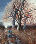 Fine Art - Painting, European:Contemporary   (1950 to present)  , Pere Arribas (Spanish, 1924-1996). Walking in Autumn. Oil oncanvas. 25-1/2 x 21-1/4 inches (64.8 x 54.0 cm). Signed low...