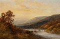 Fine Art - Painting, American:Antique  (Pre 1900), Thomas Bailey Griffin (American, 1858-1918). Autumn landscapewith waterfall and distant hills. Oil on canvas. 16 x 24 i...
