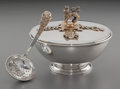 Silver Holloware, British:Holloware, An Asprey English Silver Commemorative Royal Wedding AnniversaryCovered Bowl and Spoon, London, England, circa 1973. Marks:...(Total: 2 Items)