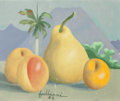 Latin American:Contemporary, Juan Vicente Fabbiani (Venezuelan, 1910-1989). Tropical StillLife with a Pear and Peaches, 1984. Oil on canvas. 10 x 12...