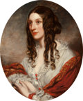 Fine Art - Painting, European:Antique  (Pre 1900), Richard Buckner (British, 1812-1883). Portrait of a Woman,Half-length, Wearing a White Dress and Red Shawl, Thought tobe...