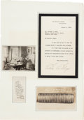 Autographs:U.S. Presidents, President Calvin Coolidge Typed Letter Signed and Typed StatementSigned....