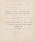 Autographs:U.S. Presidents, Theodore Roosevelt Typed Letter Signed....