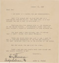 Autographs:U.S. Presidents, Harry Truman Signed Typescript of a Letter Previously Sent toDwight Eisenhower....