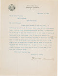 Autographs:U.S. Presidents, Theodore Roosevelt Typed Letter Signed as Governor....