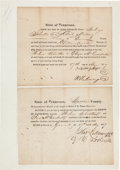 Autographs:U.S. Presidents, Future President Andrew Johnson Marriage Bond Document SignedTogether with Marriage License and Certificate Signed by Cousin ...(Total: 2 Items)
