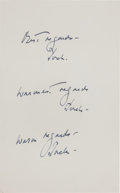 Autographs:U.S. Presidents, John F. Kennedy: Three Signatures and Sentiments on a Single Sheet....