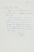 "Autographs:U.S. Presidents, Ronald Reagan Autograph Letter Signed ""RR"" as Governor ofCalifornia...."